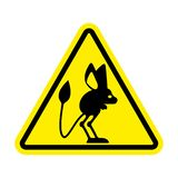 Attention Jerboa. Caution Steppe animal. Yellow triangle road si Stock Image