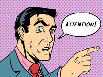 Attention man shows up. The man says attention. Pointing his finger at the target. Retro style Royalty Free Stock Images