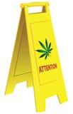 Attention marijuana. Folding warning signal about marijuana. Vector illustration Stock Photo