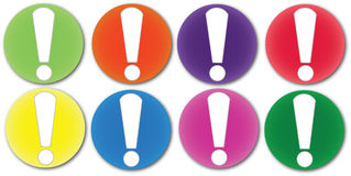 Attention Marks. 8 Marks in different colours, used to highlight or draw attention to desired subject or point of interest... Will be avaliable in vector format Stock Photography
