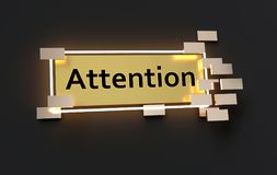 Attention modern golden sign. With golden cubes around and glowing neon light on the black wall , 3d rendered Royalty Free Stock Photography