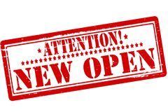 Attention new open. Rubber stamps with text attention new open inside,  illustration Stock Photo