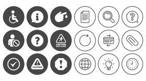Attention notification icons. Information signs. Attention notification icons. Question mark and information signs. Injury and disabled person symbols. Document Royalty Free Stock Image