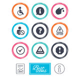 Attention notification icons. Information signs. Attention notification icons. Question mark and information signs. Injury and disabled person symbols. Report Royalty Free Stock Image