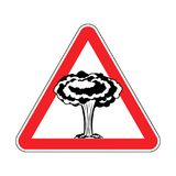 Attention Nuclear explosion. War is prohibited. Red triangle roa. D sign Caution Royalty Free Stock Image