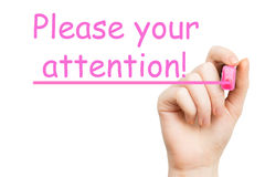 Attention, pink marker Royalty Free Stock Photo
