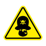 Attention pirate. Yellow warning sign rover. Caution filibuster Stock Images