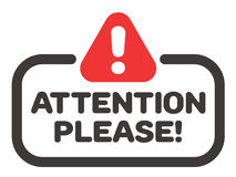 Attention please badge or banner vector with attention street sign icon. Stock Images