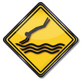 Attention please do not jump into the water Royalty Free Stock Photos