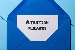Attention Please note at blue envelope Stock Photography