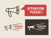 Attention please symbols set on light and dark background. Vector illustration. Attention please symbols set with megaphone on light and dark background stock illustration