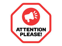 Attention Please Vector with Megaphone Icon Royalty Free Stock Photography