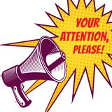 Attention please vector symbols with megaphone Stock Images