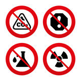 Attention radiation icons. Chemistry flask Royalty Free Stock Images
