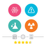 Attention radiation icons. Chemistry flask. Stock Photography