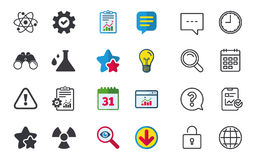 Attention radiation icons. Chemistry flask. Stock Photo