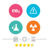 Attention radiation icons. Chemistry flask. Stock Image