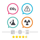 Attention radiation icons. Chemistry flask. Attention and radiation icons. Chemistry flask sign. CO2 carbon dioxide symbol. Calendar, internet globe and report Stock Images