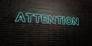 ATTENTION -Realistic Neon Sign on Brick Wall background - 3D rendered royalty free stock image Royalty Free Stock Photos