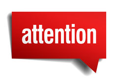 attention red paper speech bubble Royalty Free Stock Photo