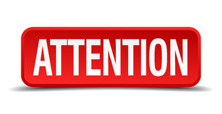 Attention red three-dimensional square button Royalty Free Stock Photo