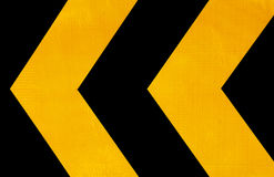 Attention road sign. To left side stock image