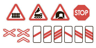 Attention road signs warning railway Royalty Free Stock Images