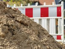 Attention road works or construction site stock photos