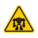 Attention Robot. Caution Yellow Road Sign Cyborg Warrior Future. Royalty Free Stock Image