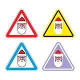 Attention Santa Claus. Warning sign Santa. Color label for Chris Royalty Free Stock Photo