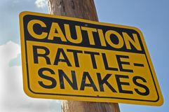 Attention : Serpents à sonnettes Photographie stock