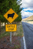 Attention Sheep Crossing Road. New Zealand Road Sign, Attention Sheep Crossing Road royalty free stock photography