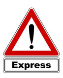 Attention sign with exclamation mark and added information Stock Photo