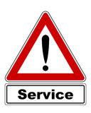 Attention sign with exclamation mark and added information Stock Photography