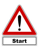 Attention sign with exclamation mark and added information Royalty Free Stock Photography