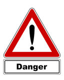Attention sign with exclamation mark and added information Royalty Free Stock Photo