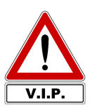 Attention sign with exclamation mark and added information Stock Images