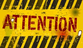 Attention sign. Grungy metal sign,stylish illustration Royalty Free Stock Photo
