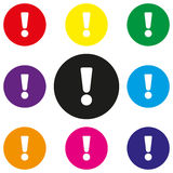 Attention sign icon. Exclamation mark. Hazard warning symbol. Round colourful 11 buttons. Vector stock illustration