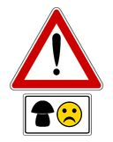 Attention sign with mushroom and smiley. Detailed and accurate illustration of attention sign with mushroom and smiley Stock Image