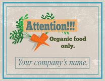 Attention, signe d'aliment biologique seulement photo libre de droits