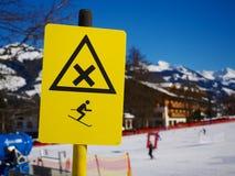 Warning sign on ski slope Stock Photos