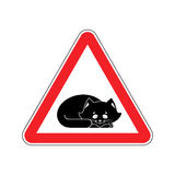 Attention Sleeping cat. Caution pet. Red triangle road sign Stock Images