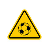 Attention soccer. Danger yellow road sign. footballl Caution Royalty Free Stock Photo