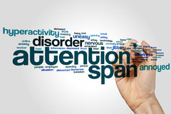Attention span word cloud on grey background.  stock photo