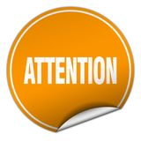 Attention sticker. Attention round sticker isolated on wite background. attention Stock Photos