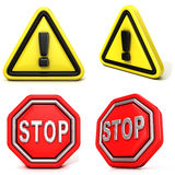 Attention and stop signs. 3D Side view Stock Images