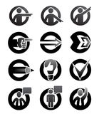 Attention symbols. Bullets, icons of tips, hints and signs to attract attention Stock Images