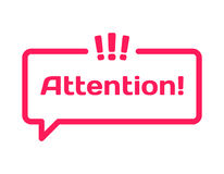 Attention template dialog bubble in flat style on white. Stamp with exclamation point icon for various word. Vector. Attention template dialog bubble in flat Stock Photography