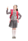 Attention to pupil. Self-confident pupil is ready to go to school, isolated, white background Royalty Free Stock Image